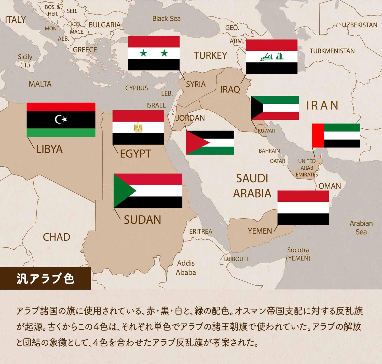 汎アラブ色/アラブ諸国の旗に使用されている、赤・黒・白と、緑の配色。オスマン帝国支配に対する反乱旗が起源。古くからこの4色は、それぞれ単色でアラブの諸王朝旗で使われていた。アラブの解放と団結の象徴として、4色を合わせたアラブ反乱旗が考案された。