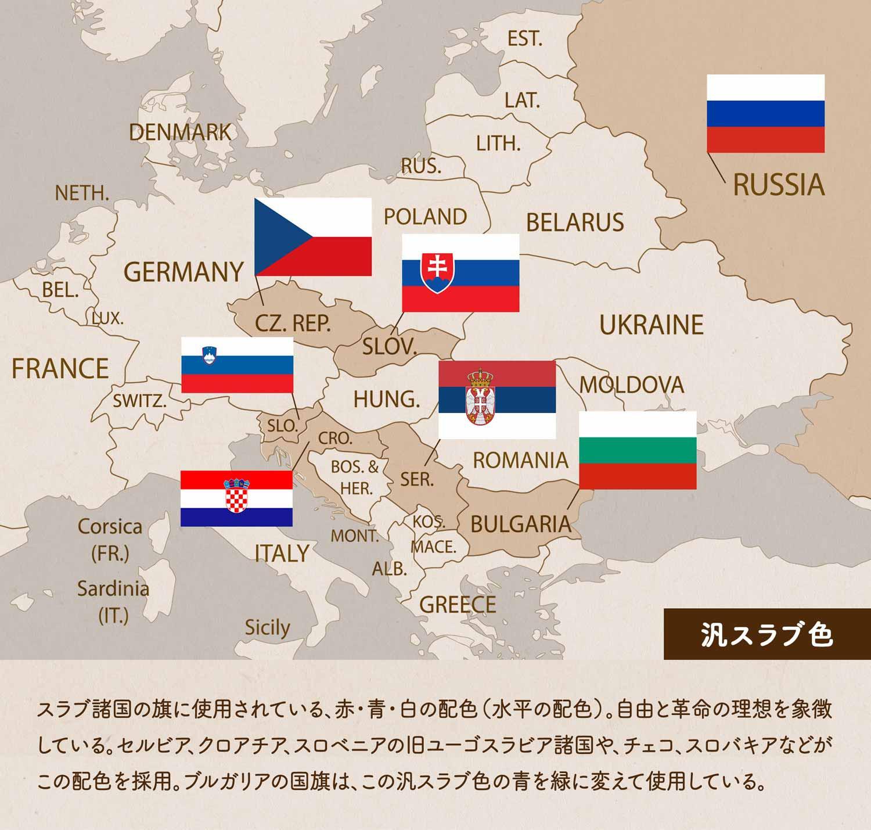 汎スラヴ色/スラヴ諸国の旗に使用されている、赤・青・白の配色(水平の配色)。自由と革命の理想を象徴している。セルビア、クロアチア、スロベニアの旧ユーゴスラビア諸国や、チェコ、スロバキアなどがこの配色を採用。ブルガリアの国旗は、この汎スラヴ色の青を緑に変えて使用している。