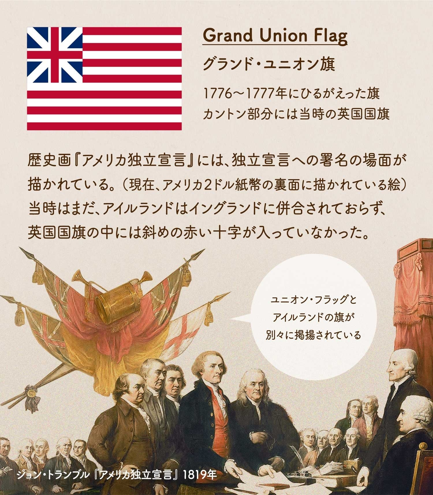 Grand Union Flag グランド・ユニオン旗/1776〜1777年にひるがえった旗。カントン部分には当時の英国国旗。歴史画『アメリカ独立宣言』には、独立宣言への署名の場面が描かれている。 (現在、アメリカ2ドル紙幣の裏面に描かれている絵)当時はまだ、アイルランドはイングランドに併合されておらず、英国国旗の中には斜めの十字が入っていなかった。絵画からも、グランド・ユニオン旗とアイルランドの旗が別々に掲揚されているのがわかる。ジョン・トランブル 『アメリカ独立宣言』 1819年