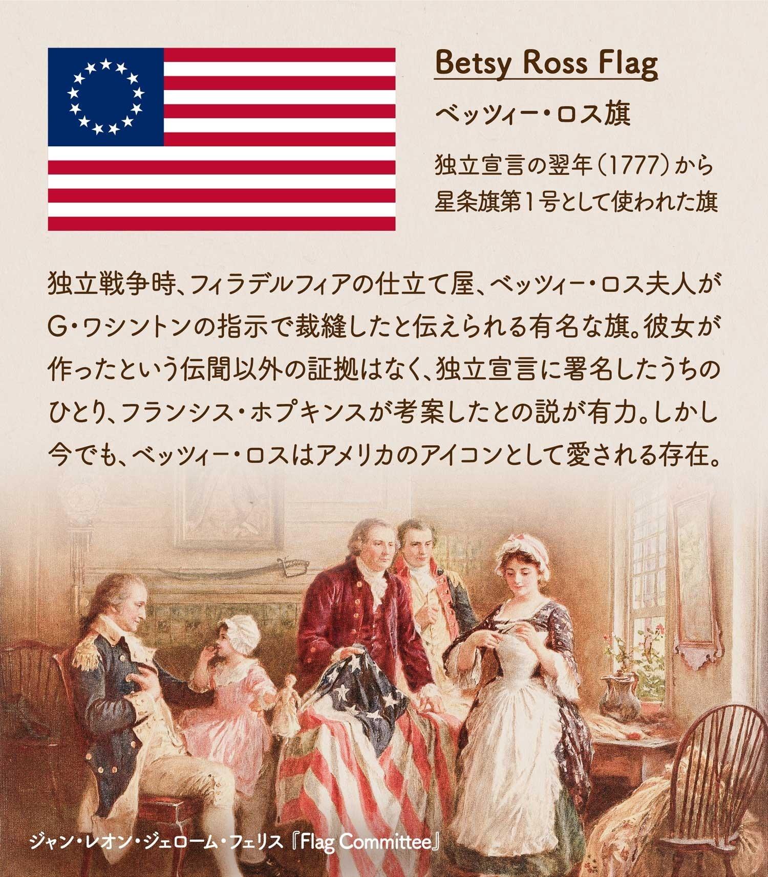Betsy Ross Flag ベッツィー・ロス旗/独立宣言の翌年(1777)から星条旗第1号として使われた旗。独立戦争時、フィラデルフィアの仕立て屋、ベッツィー・ロス夫人がG・ワシントンの指示で裁縫したと伝えられる有名な旗。彼女が作ったという伝聞以外の証拠はなく、独立宣言に署名した中のひとり、フランシス・ホプキンスが考案したとの説が有力。しかし今でも、ベッツィー・ロスはアメリカのアイコンとして愛される存在。ジャン・レオン・ジェローム・フェリス 『Flag Committee』