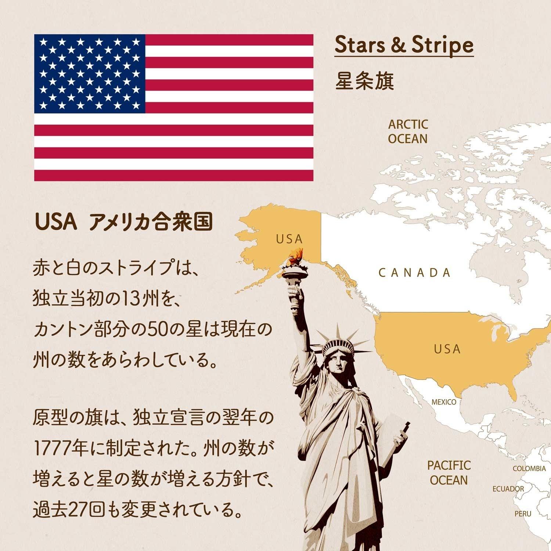 USA アメリカ合衆国/赤と白のストライプは、独立当初の13州を、カントン部分の50の星は現在の州の数をあらわしている。原型の旗は、独立宣言の翌年の1777年に制定された。州の数が増えると星の数が増える方針で、過去27回も変更されている。Stars & Stripe「星条旗」の愛称。