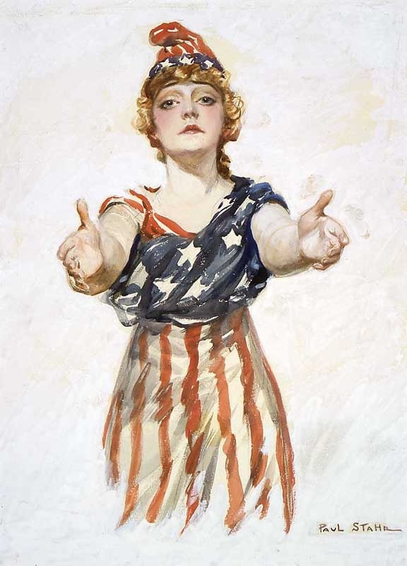 ポール・スターによる第一次世界大戦のポスター。アメリカの女性の擬人化であるコロンビアを描いている。