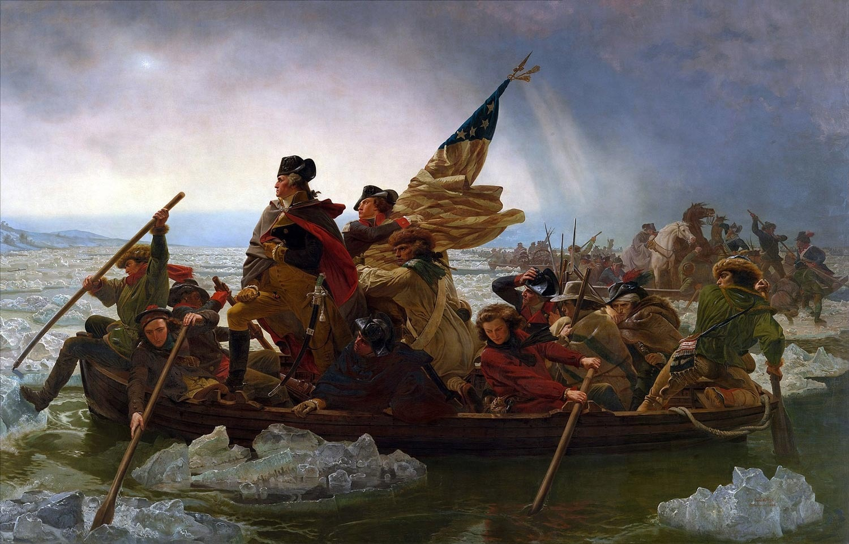 独立戦争時、逆境を覆したワシントンの栄光を星条旗と共に描いた『デラウェア河を渡るワシントン』エマニュエル・ゴットリーブ・ロイツェ 1851年 メトロポリタン美術館蔵