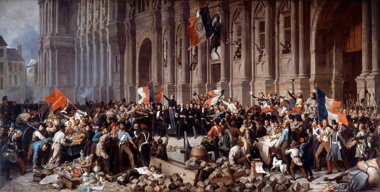 『1848年2月25日、パリ市庁舎前で赤旗を拒否するラマルティーヌ』アンリ・フェリックス・エマニュエル・フィリポトー