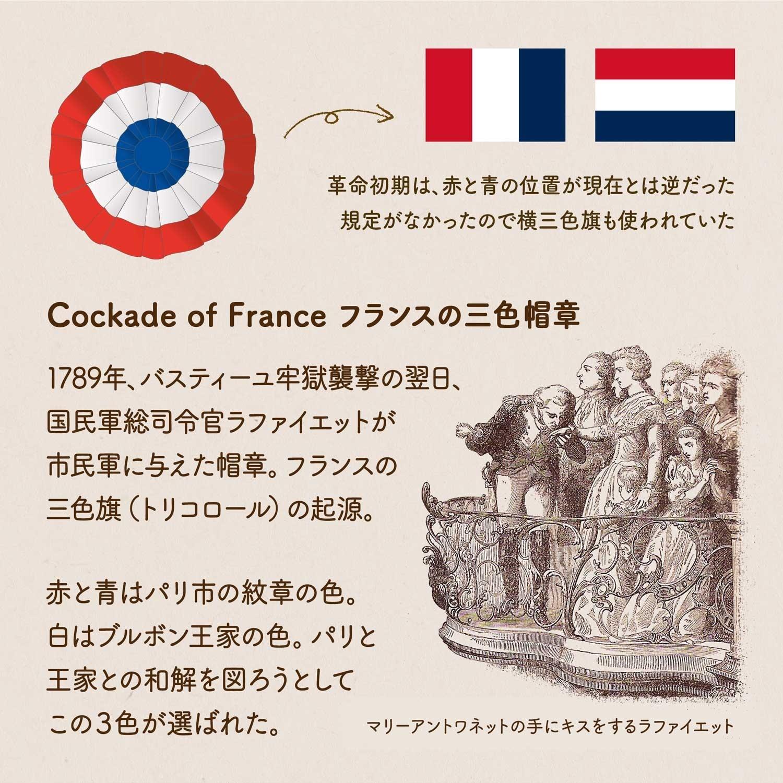 フランスの三色帽章をイラストで説明した画像。三色帽章の由来や、当時使われていた三色旗(トリコロール)のイラスト、マリーアントワネットの手にキスをする国民軍総司令官ラファイエットの画像など。