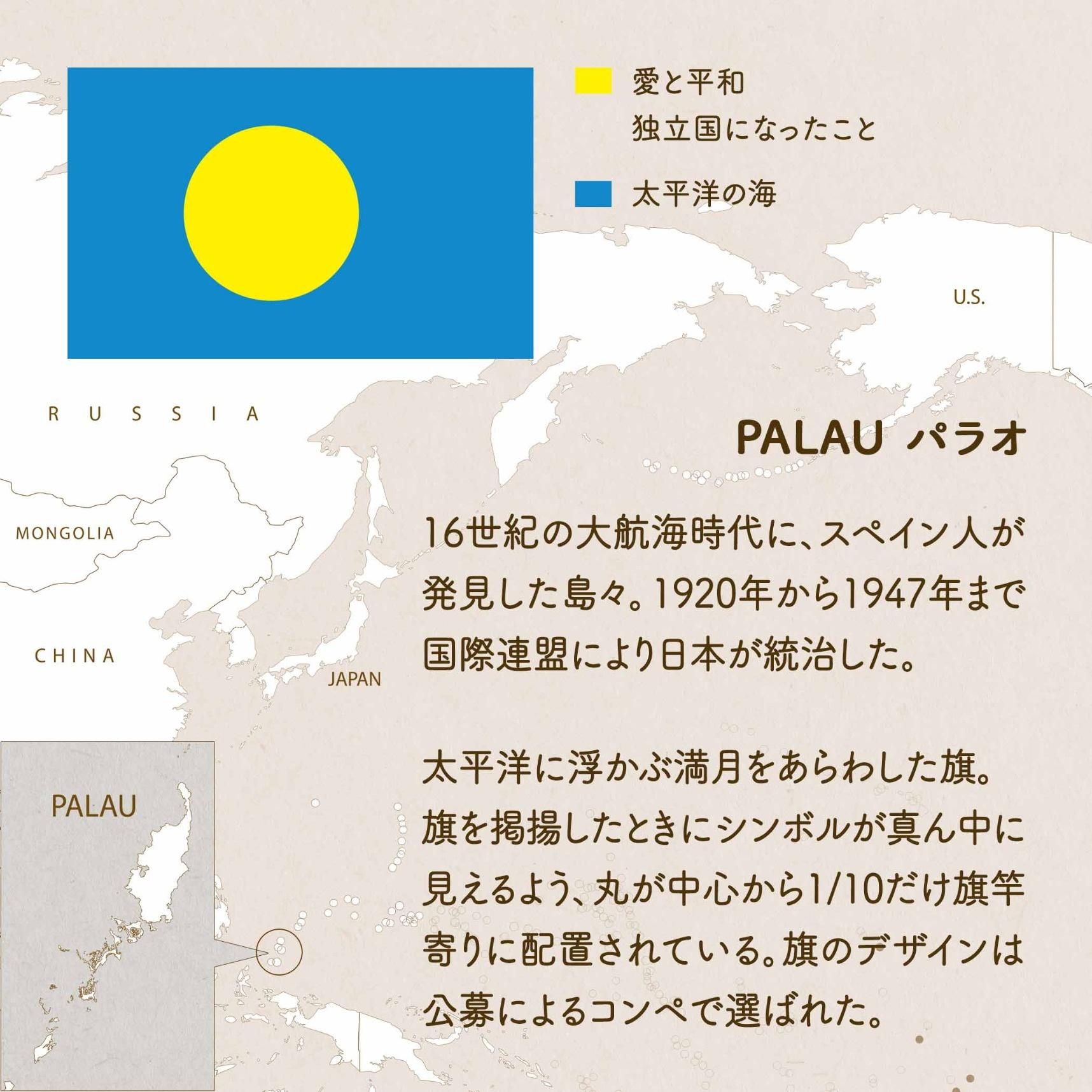 PALAU パラオ/16世紀の大航海時代に、スペイン人が発見した島々。1920年から1947年まで国際連盟により日本が統治した。太平洋に浮かぶ満月をあらわした旗。旗を掲揚したときにシンボルが真ん中に見えるよう、丸が中心から1/10だけ旗竿寄りに配置されている。旗のデザインは公募によるコンペで選ばれた。 黄色=愛と平和・独立国になったこと 青=太平洋の海