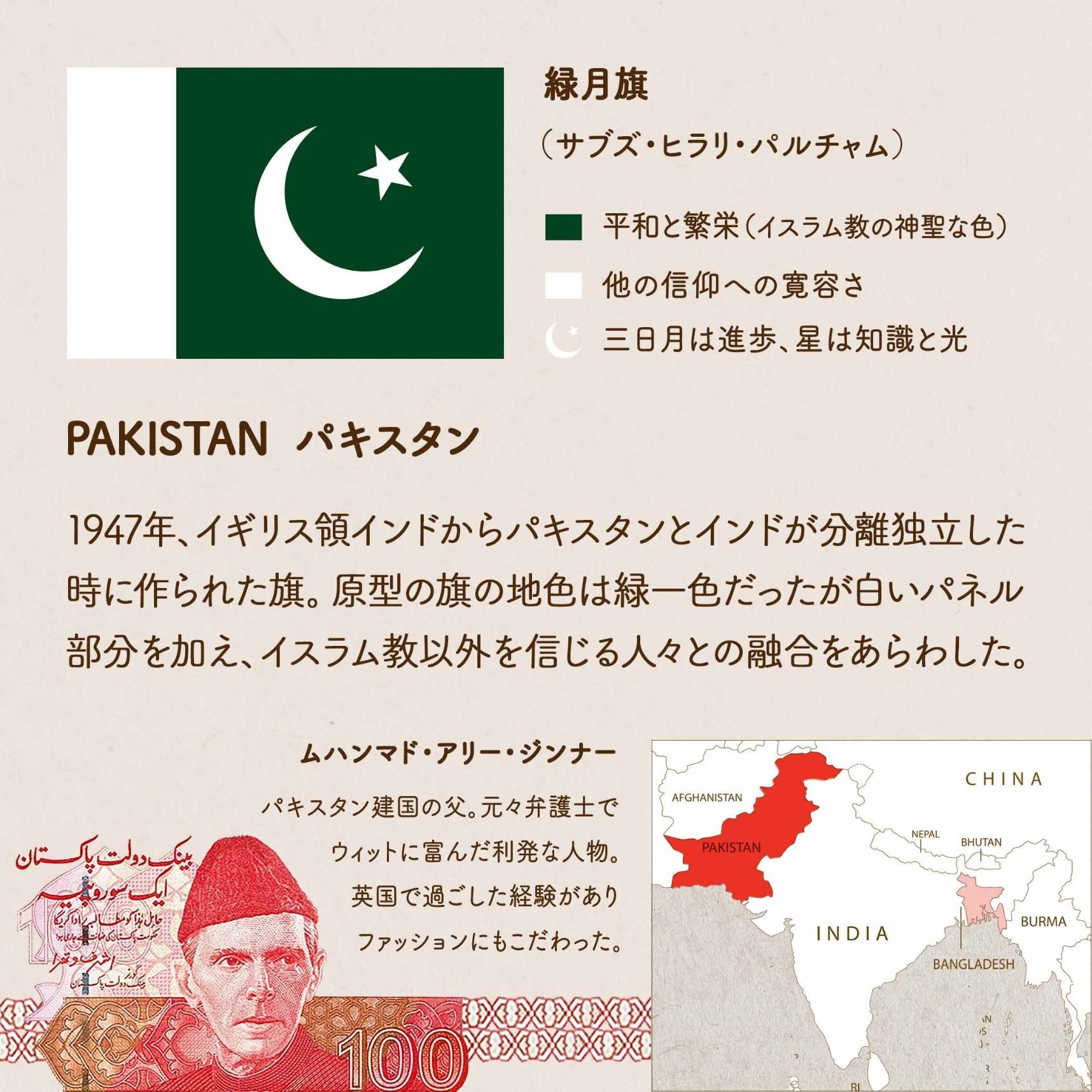 PAKISTAN パキスタン/1947年、イギリス領インドからパキスタンとインドが分離独立した時に作られた。原型の旗の地色は緑一色だったが、白いパネル部分を加え、イスラム教以外を信じる人々との融合をあらわした。緑月旗(サブズ・ヒラリ・パルチャム)/緑=平和と繁栄(イスラム教の神聖な色) 白=他の信仰への寛容さ 三日月と星のシンボル=三日月は進歩、星は知識と光 ムハンマド・アリー・ジンナー/パキスタン建国の父。元々弁護士でウィットに富んだ利発な人物。英国で過ごした経験がありファッションにもこだわった。