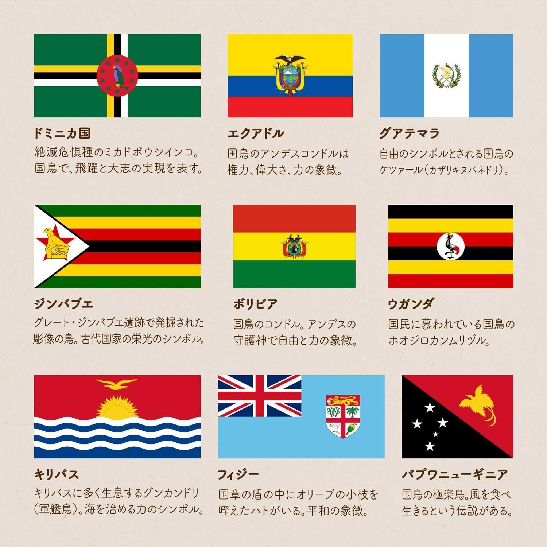 色々な鳥が描かれている9つの国旗のイラストと、それぞれの鳥、国鳥の名前、意味、由来をまとめた画像。ドミニカ国のミカドボウシインコ、エクアドルのアンデスコンドル、グアテマラのケツァール、ジンバブエの彫像の鳥、ボリビアのアンデスコンドル、ウガンダのホオジロカンムリヅル、キリバスの軍艦鳥、フィジーのハト、パプワニューギニアの極楽鳥。