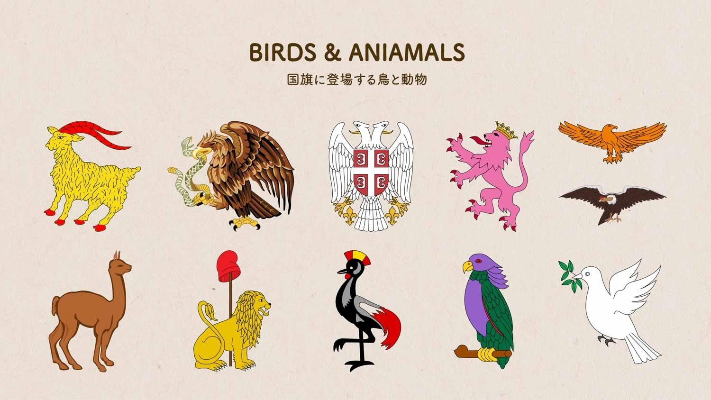 世界の国旗に登場する鳥・動物のイラスト図案を11個抜粋した画像。「BIRDS & ANIMALS」