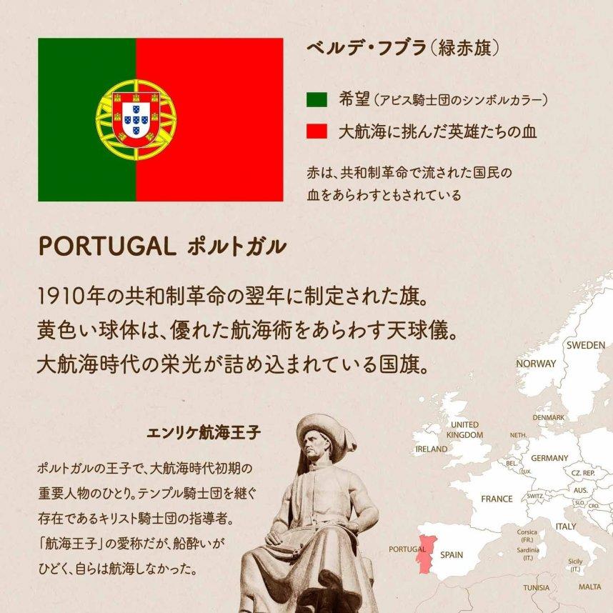 ポルトガルの国旗について1枚でわかるようにまとめた画像。ポルトガルの地図、国旗の愛称(ベルデ・フブラ)や色の意味、デザインの由来、エンリケ航海王子の紹介など。