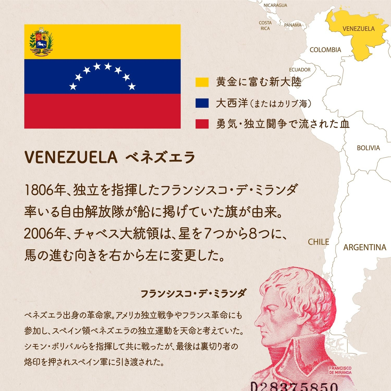 ベネズエラ(VENEZUELA)の国旗について1枚でわかるようにまとめた画像。コロンビアの地図、色の意味、デザインの由来、ベネズエラ出身の革命家でミランダ旗の考案者、フランシスコ・デ・ミランダについてなど。
