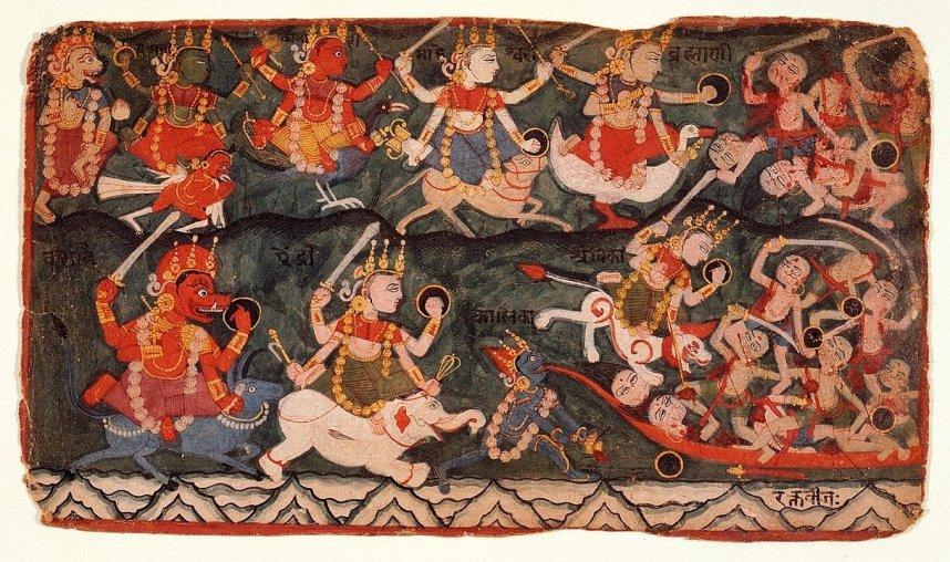 それぞれ異なるヴァーハナに跨るマトリカ(Matrika)。(上段左から2番目より)ガルダ、孔雀、ナンディン、ハムサ(アヒル、あるいは白鳥)、(下段)水牛、象、ライオン。